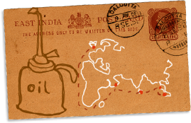 East India postcard with map